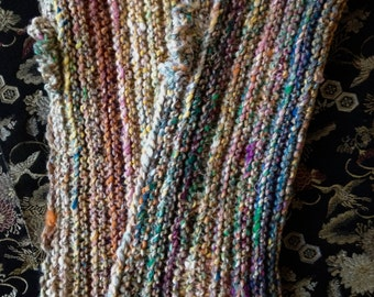 ON SALE: Handknit wristwarmers - multicolor - cotton/wool/silk - Noro