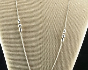 Sterling Silver  Cascade Bead Necklace 32""