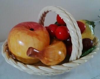 Vintage Bassano Italialian Ceramic Lattice Fruit Basket with Braided Handle Filled With Luscious Fruit