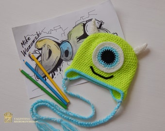 Baby monster costume. Crochet Mike Wazowski .Photo Prop. Crochet Hats. Monsters hats. Mike Wazowski hat . Beanie for newborn. Disney beanie