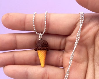 Ice Cream Necklace Polymer Clay, Miniature Clay Dessert Food Jewelry, Ball Chain, Fake Food