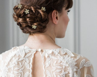Blossom hair pins, bridal hairpins, flower hairpins, bridal bobbie pins, flower headpiece, bridesmaid, flower girl, flower clips  #214