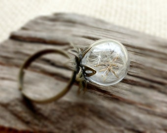 Real dandelion ring Mini terrarium ring Nature ring gift ideas for her Real flower ring Romantique botanical jewelry Nature inspired ring
