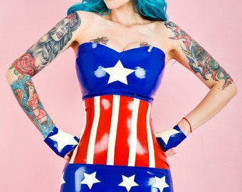 "Captain America inspired cosplay latex dress ""The Cap"""