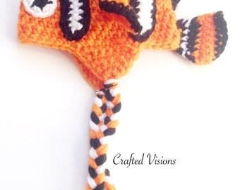 PATTERN** Crochet Clown Fish Hat Pattern, All Sizes, Newborn to Adult, Finding Nemo, Crochet Hat Pattern, Nemo Hat