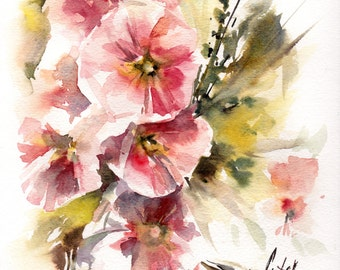 Original Watercolor Paining, Flowers Painting, Pink Floral Watercolour Art