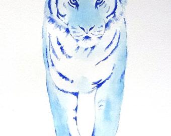 "ORIGINAL Watercolor Tiger Painting 11""x14"", Blue Tiger painting, Tiger Sketch, Tiger Art"