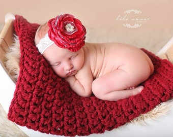 Vintage Inspired Red/Gray/White Flower Headband with White Tulle/Toddler Headband/Photo Prop/Special Occasions/Christmas Headband/3 Colors