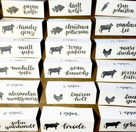 Wedding Place Cards / Dinner Choice Cards / Meal Choice Place