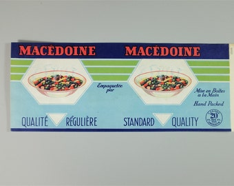 Vintage Canadian macedoine can label - French and english can label - Retro can label - Vintage label - Retro label