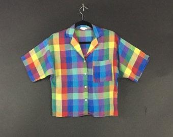 You Babes! Rainbow Plaid Crop Shirt