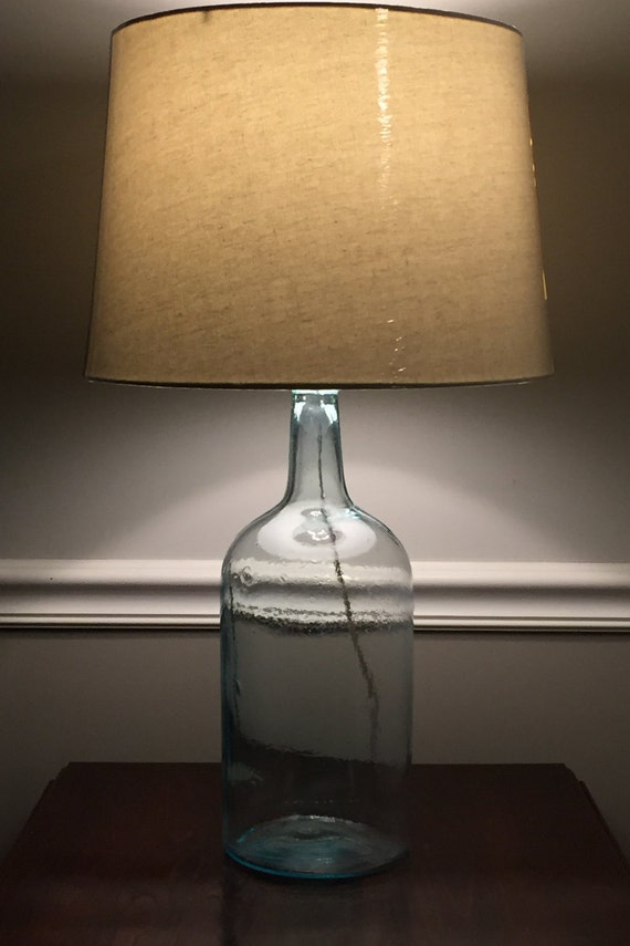 Aqua Demijohn Bottle Table Lamp