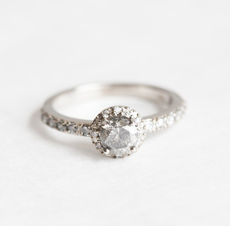 Grey Diamond Ring Grey Diamond Engagement Ring Brilliant Cut