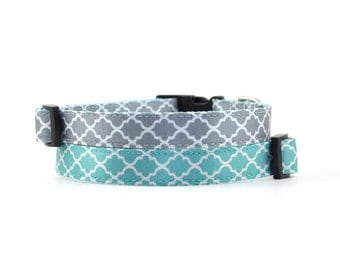 Quatrefoil Dog Collar // Size S-M // Adjustable Length // Light Blue and Gray Quatrefoil Collars
