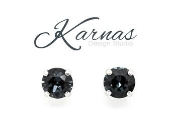 GRAPHITE 8mm Crystal Chaton Stud or Post Earrings Swarovski Elements NEW 2017  *Pick Your Finish *Karnas Design Studio *Free Shipping