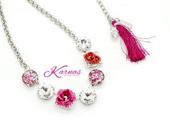 BIRTHDAY GIRL 14mm Mixed Media Necklace Made With Swarovski Elements *Rhodium Silver *Karnas Design Studio Exclusive *Free Shipping