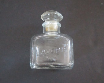 Vintage Mid Century Lavoris Mouthwash Apothecary Bottle with Stopper