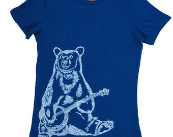 Womens T Shirt - Banjo Bear T Shirt - Animal Tshirt - Illistration Tee - Screen Print - Short Sleeve Bear Tees - Ladies Tee Shirts  S M L XL