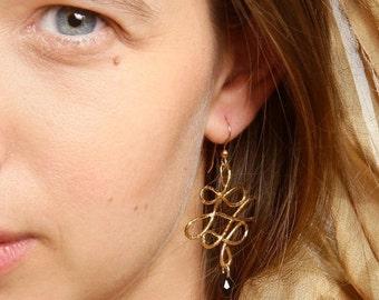 Long Dangle Earrings, Chandelier Wedding Earrings , Gemstone Hammered Earrings, Handmade Jewelry, Gift For Her