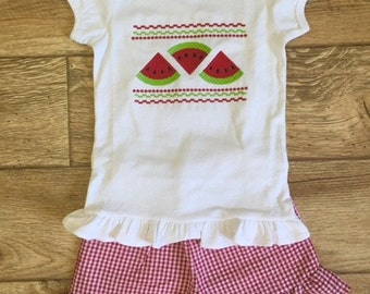 Smocked Watermelon Shirt with Red Ruffle Short Set