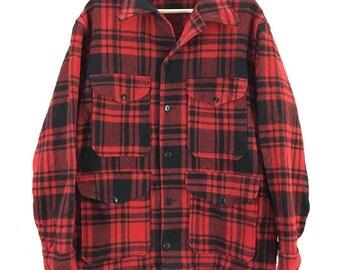 Vintage 1960's Pendleton Buffalo Plaid Wool Hunting Jacket Sz Large USA