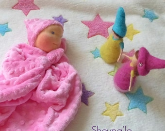 Waldorf first doll, soft toys,  1st birthday gift, newborn gift, 1st birthday, for baby girls, baby blanket toy, security blanket, knot doll