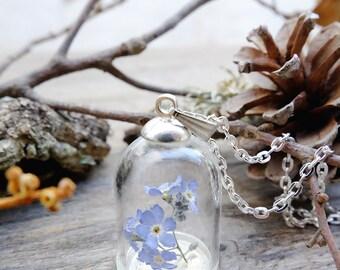Real flower necklace,forget me not,terrarium necklace,miniature garden,glass bottle necklace,botanical necklace,dried flower,nature necklace