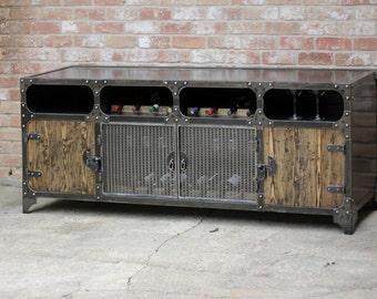 Modern Industrial Wine Cabinet | Credenza | Coffee Bar | Liquor Cabinet Storage | Buffet | Sideboard | Steel & Wood Rack