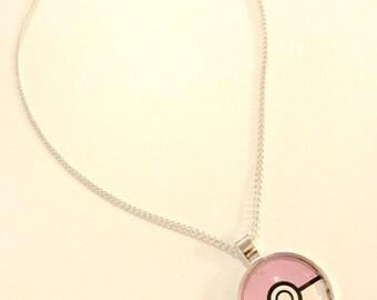 Kawaii Pastel Pink Pokeball Glass Pendant Necklace