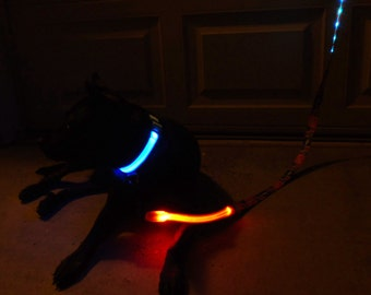 Broncos LED leash lights up, flashes and glows in the dark; Choose orange, blue, red, white, blue, pink, or rainbow lights