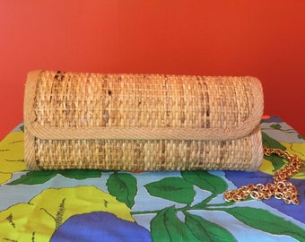 1970's Vintage Casual Glamour Italian Natural Wicker Clutch, Made in Italy Cross Body Bag Purse Evening Bag