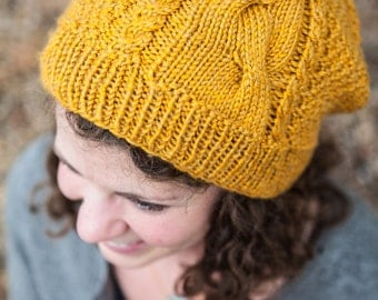 Yellow Cable Knit Slouch Beanie