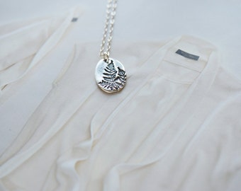 Sterling Silver Fern Necklace, Sterling Silver Leaf Necklace, Sterling Silver Necklace