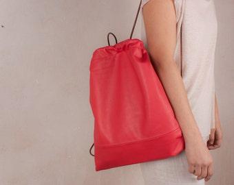 Leather drawstring backpack, leather backpack red, leather backpack laptop, man leather backpack, women backpack, large backpack, rucksack