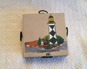 Lighthouse Tile Coasters, Cape Lookout NC Coasters, Set of 4 Coaster, Stone Composite Coasters,  Tile Coasters, Coasters with Metal Stand