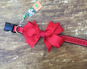 Removable Red Bow Dog Collar, Red Dog Collar, Dressy Dog Collar, Bow Dog Collar, Girl Dog Collar, Medium Dog Collar, female dog, girl dog