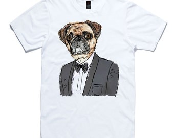 Pug In A Suit T-Shirt by RockPaperHeart in white dog sketch art