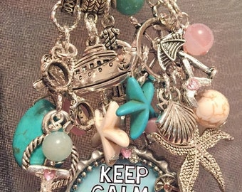 Keep Calm and Cruise On KeyChain/PurseCharm/Cruise/Beach /Boat Lanyard Handmade Jewelry