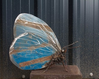 "9"" Holly Blue Butterfly Scrap Metal Sculpture, Unique Art Work, Reclaimed, Recycled, Metal Art, Metal Butterfly"