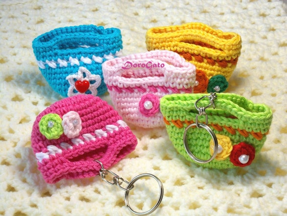 Mini Crochet Bag : Crochet mini tote bag, crochet mini bag, beaded bag, crochet tote ...