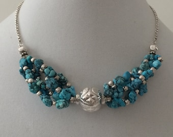 """Sterling Silver And Turquoise Necklace 16"""""""