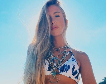 Bikini Top Only - Juliet Strappy Tie Dye Bikini In Blue White Print