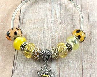 Bumble Bee Cuff Bracelet, Bee Charm Bangle Bracelet, Yellow Spring Bee Bracelet, European Bracelet, Silver Cuff Bangle, Charm Cuff Bangle