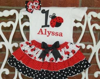 Baby Girl Ladybug Birthday Outfit! Ladybug First Birthday Outfit/Little lady Birthday Outfit/Girls First Birthday Outfit/1st Birthday Outfit