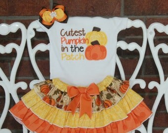 Girls Pumpkin Patch Outfit! *Cutest Pumpkin in the Patch* outfit with applique bodysuit/shirt, ruffle skirt, and hair bow!