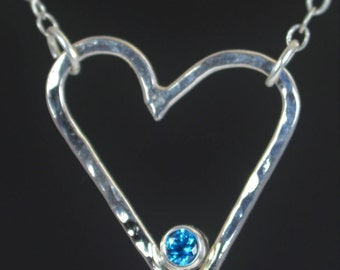 Blue Zircon Heart Necklace, Sterling Silver, Mothers Necklace, December Birthstone, Blue Zircon Necklace, Mother Necklace, Heart Pendant