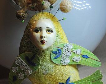 Sirin bird green OOAK Art Doll-pendant interior, Handmade, Papier mache