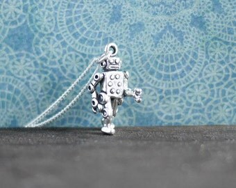 Silver Robot Necklace • Sterling jewellery, gifts for her, computer, geek, tech, space, steampunk, future, star wars, , wife
