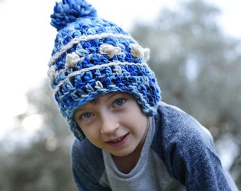 Crochet Hats for Kids , Wool Hat for Winter , Pom pom hat with ear flaps , Handmade baby hats.