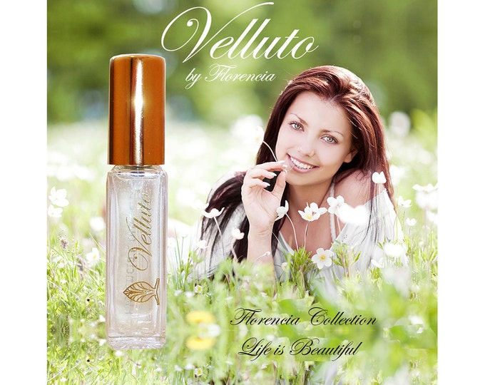 Velluto by Florencia with Dress Soft Floral Green Perfume for Women Natural Fragrance Oils Travel Size .25 oz Spray